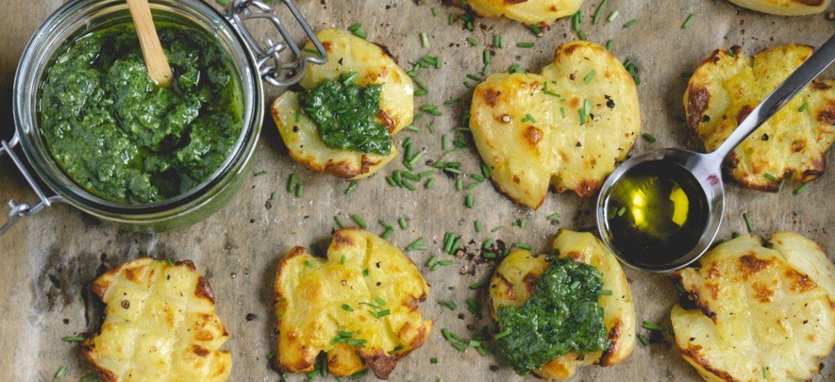 Gniecione ziemniaki z pesto
