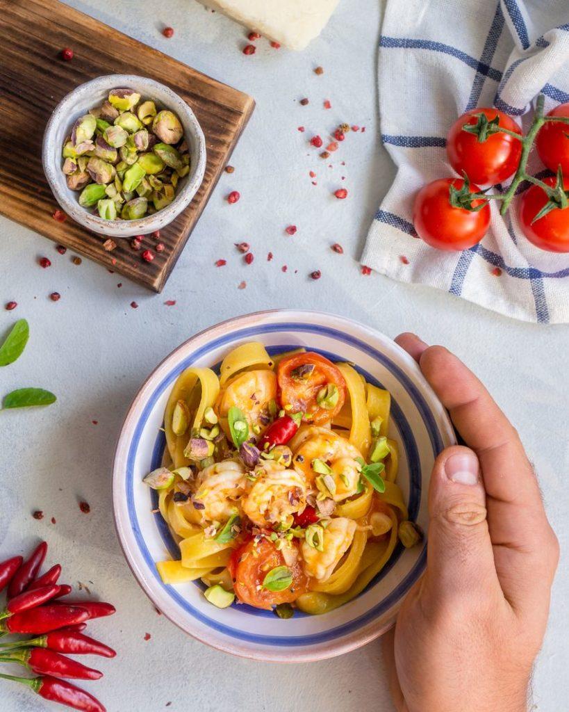 Makaron włoski z krewetkami